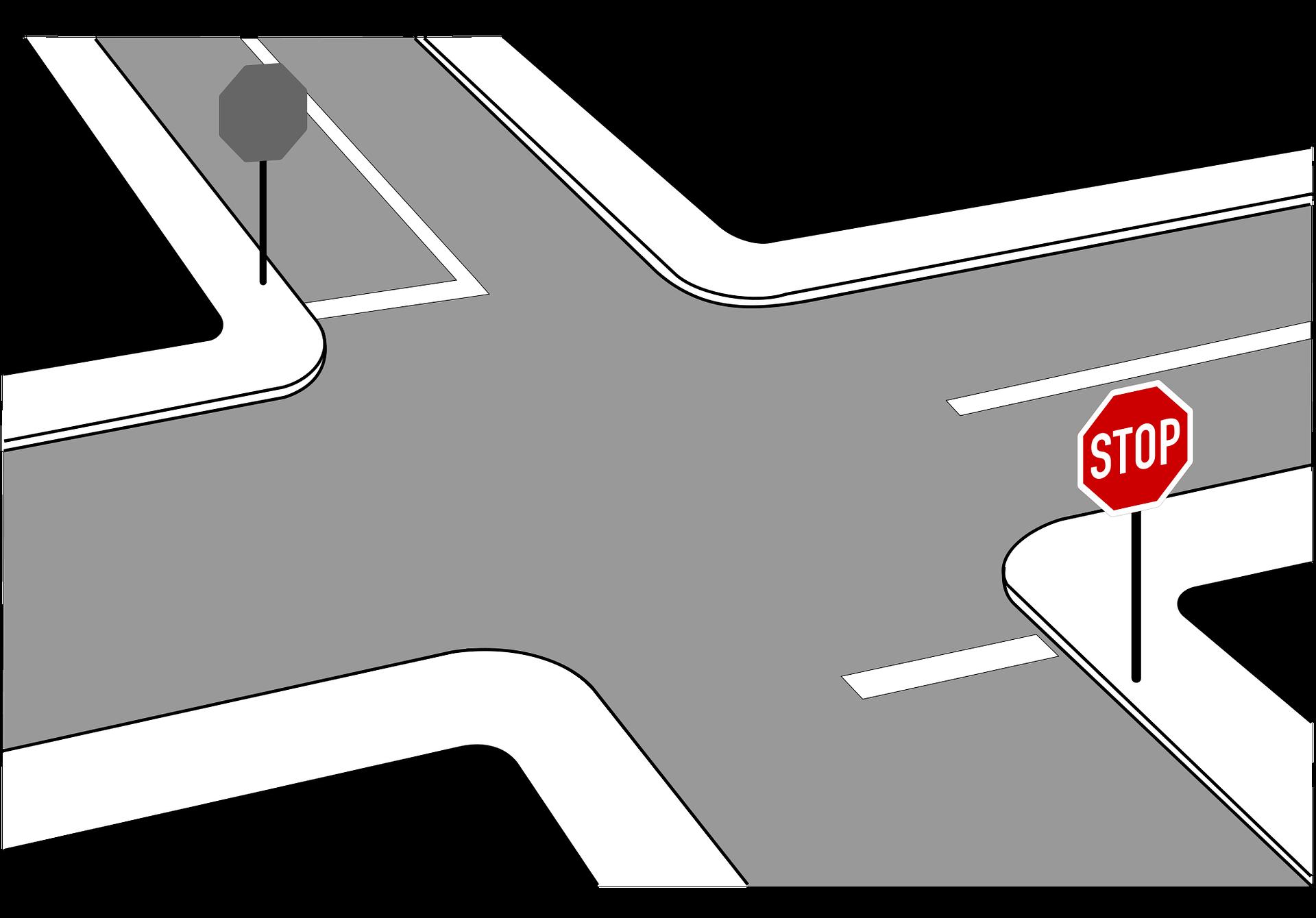 Zatrzymanie przed znakiem STOPu, znak stop, znak B-20 stop, znak B-20
