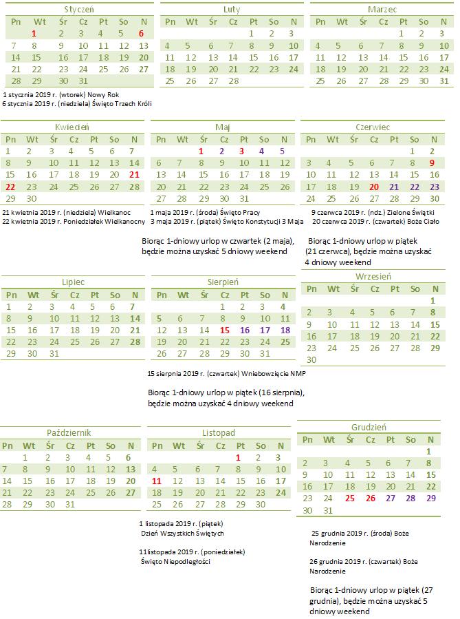 Długie Weekendy W 2019 Roku Kalendarz Czas Pracy Indywidualne
