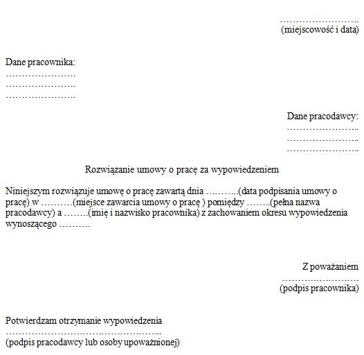 Wzór Wypowiedzenia Umowy O Pracę Przez Pracownika Wypowiedzenie