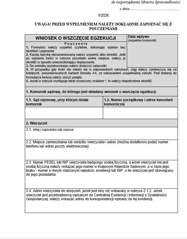 Najnowsze Wniosek o wszczęcie egzekucji komornicznej - formularz w 2019 r DN62