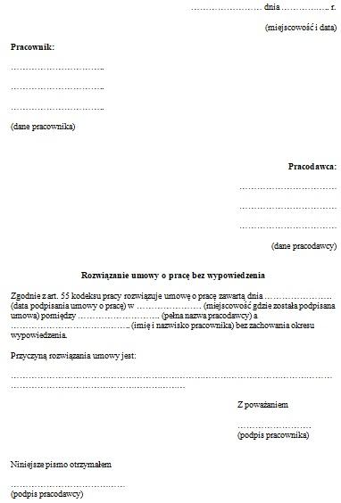 Rozwiązanie Umowy O Pracę Bez Wypowiedzenia Wzór Pisma Praca
