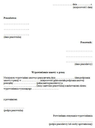 Wypowiedzenie Umowy O Pracę Przez Pracownika Wzór Pisma Praca