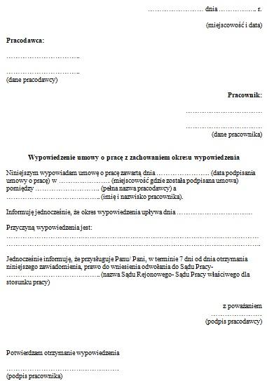 Wypowiedzenie Umowy Przez Pracodawcę Wzór Pisma Praca Umowy