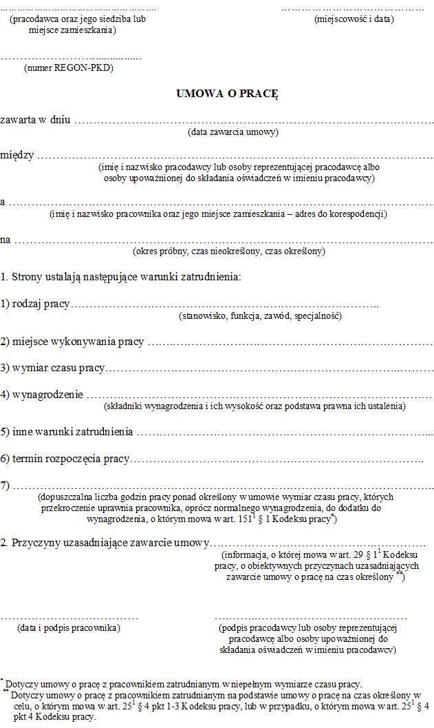 ecb0ee164ca055 Umowa o pracę 2019 - wzór - Umowa o pracę - Zatrudnienie - Infor.pl