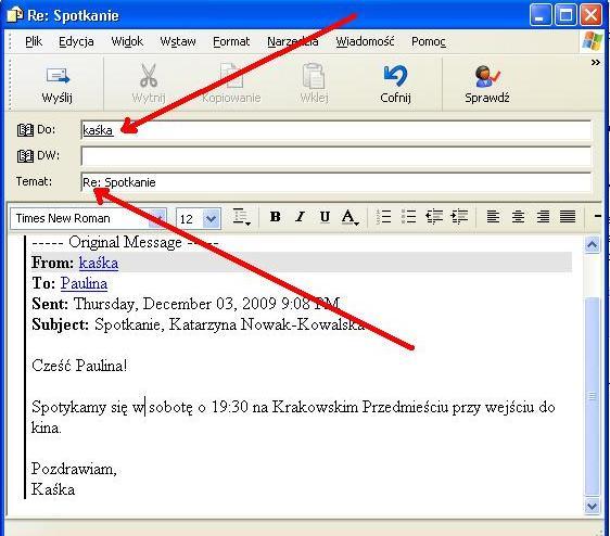 jak wysyłać e-maile z przykładami randek